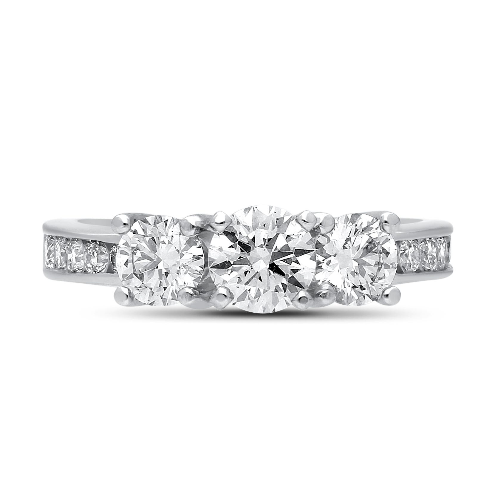 Lab-Crafted Diamond 1-1/2ctw. Three-Stone Plus Engagement Ring in 14k White Gold