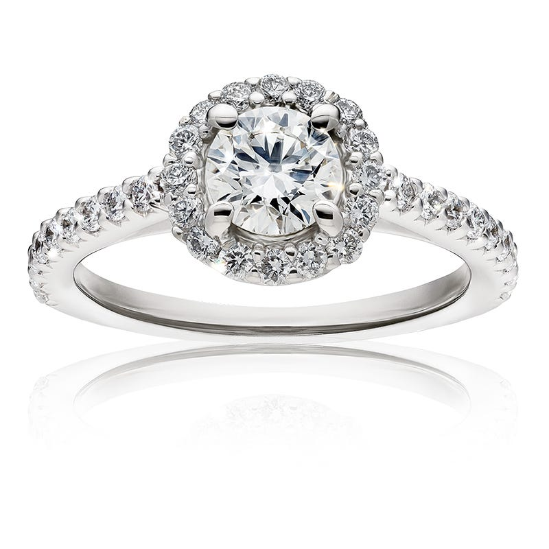 Lillian. Lab Grown 1ct. Diamond Halo Engagement Ring in 14k White Gold