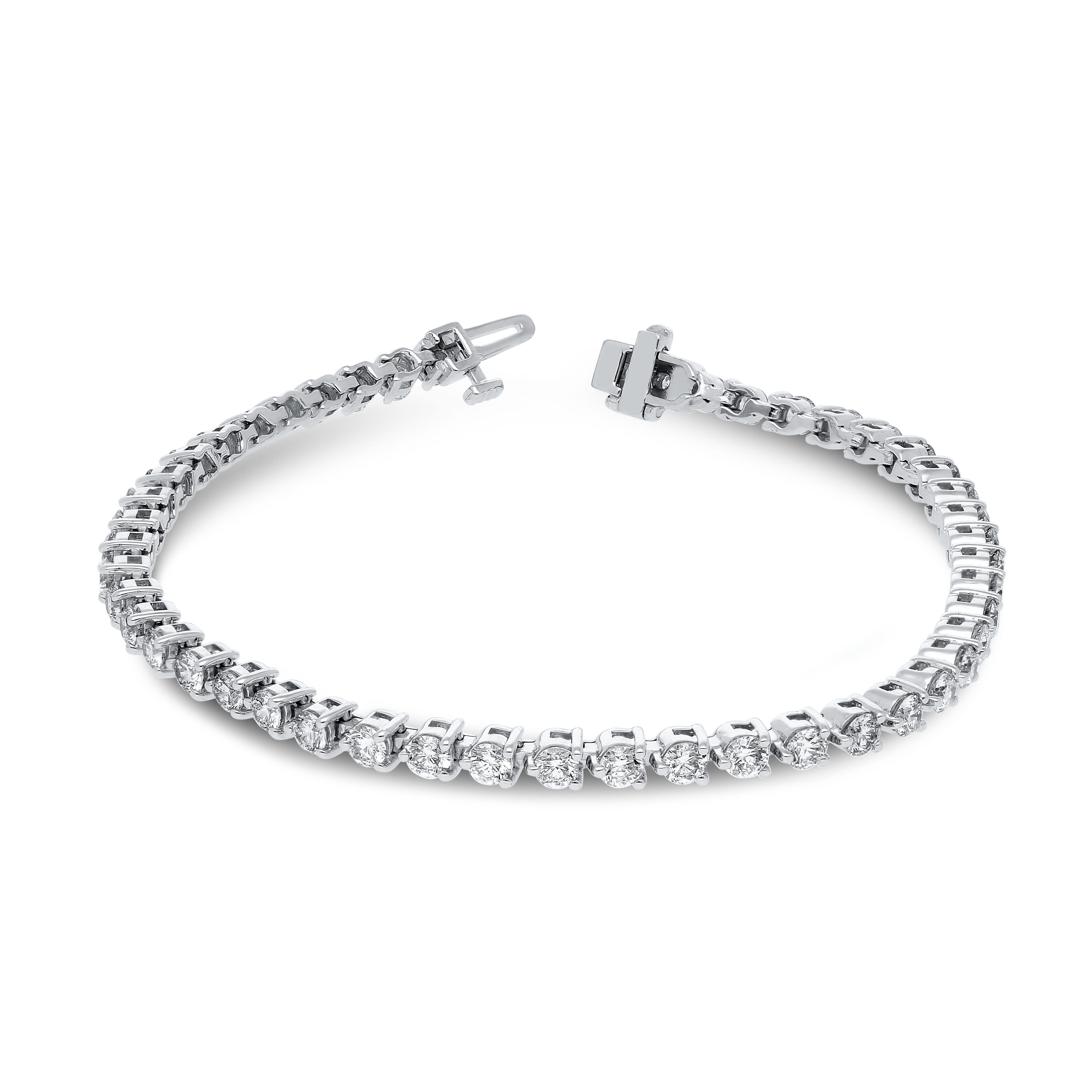 Lab-Crafted Diamond 3ctw. 3-Prong Diamond Tennis Bracelet