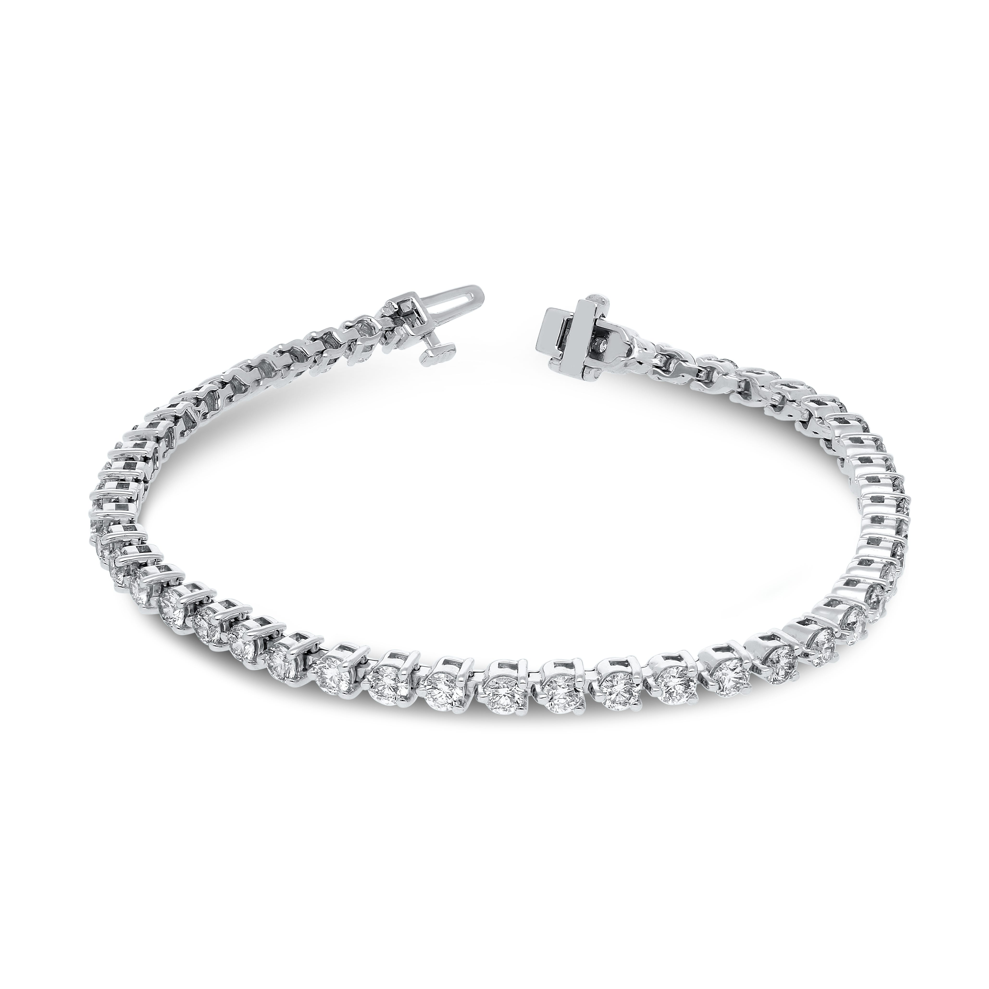Lab Grown Diamond 4ctw. 3-Prong Diamond Tennis Bracelet in 14k White Gold