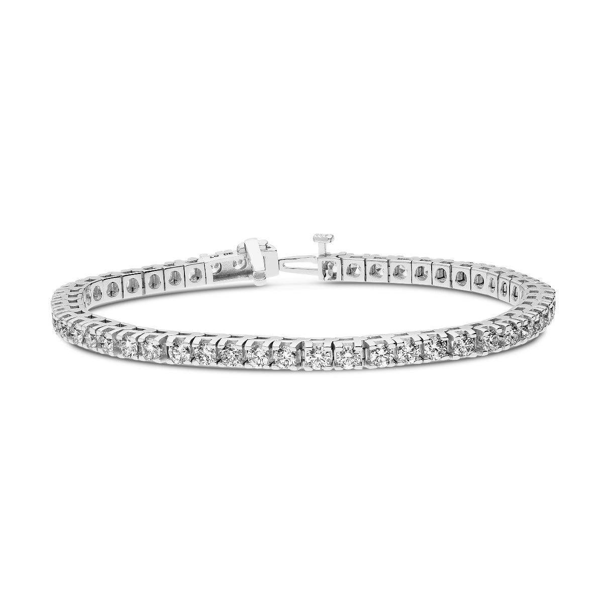 Lab Grown Diamond 3ctw. 4-Prong Diamond Tennis Bracelet in 14k White Gold