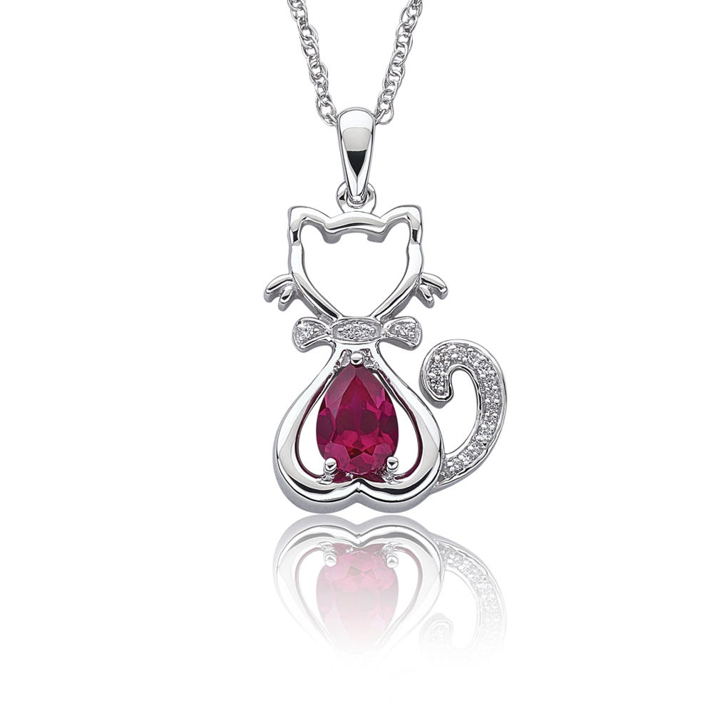 Pear-Shaped Created Ruby & Diamond Cat Pendant in Sterling Silver