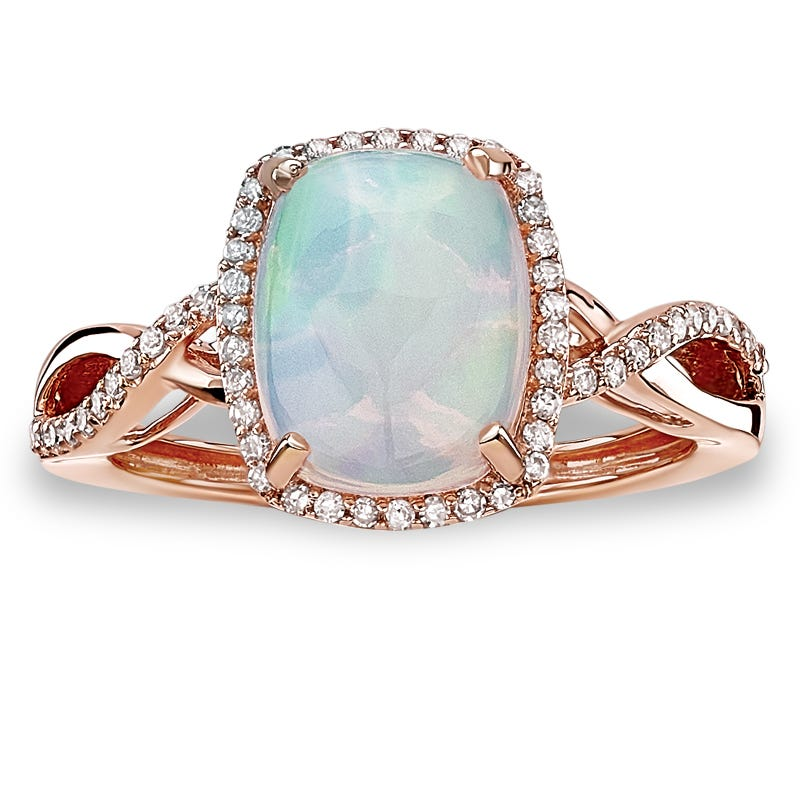 JK Crown® Opal & Diamond Halo Twist Ring in 10k Rose Gold