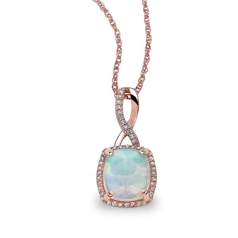 JK Crown® Opal & Diamond Halo Twist Pendant in Rose Gold