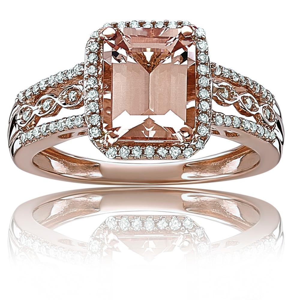 JK Crown® Morganite Emerald-Cut & Diamond Halo Ring in 10k Rose Gold