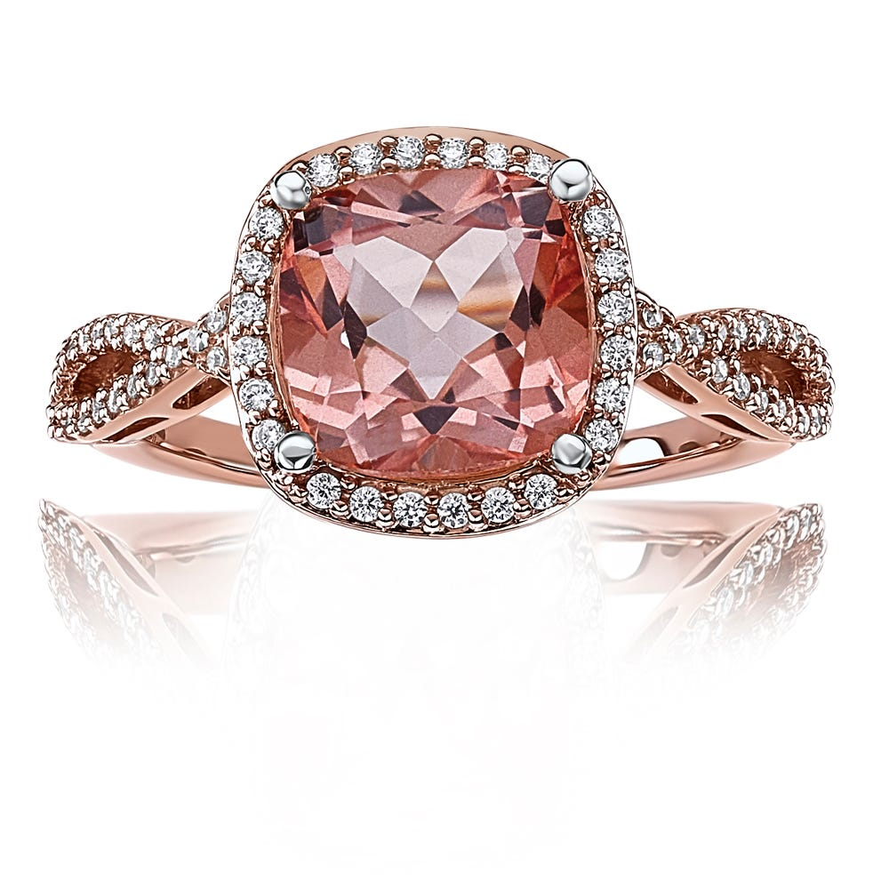 Morganaire™ Cushion-Cut Topaz & Diamond Halo Ring in Rose Gold