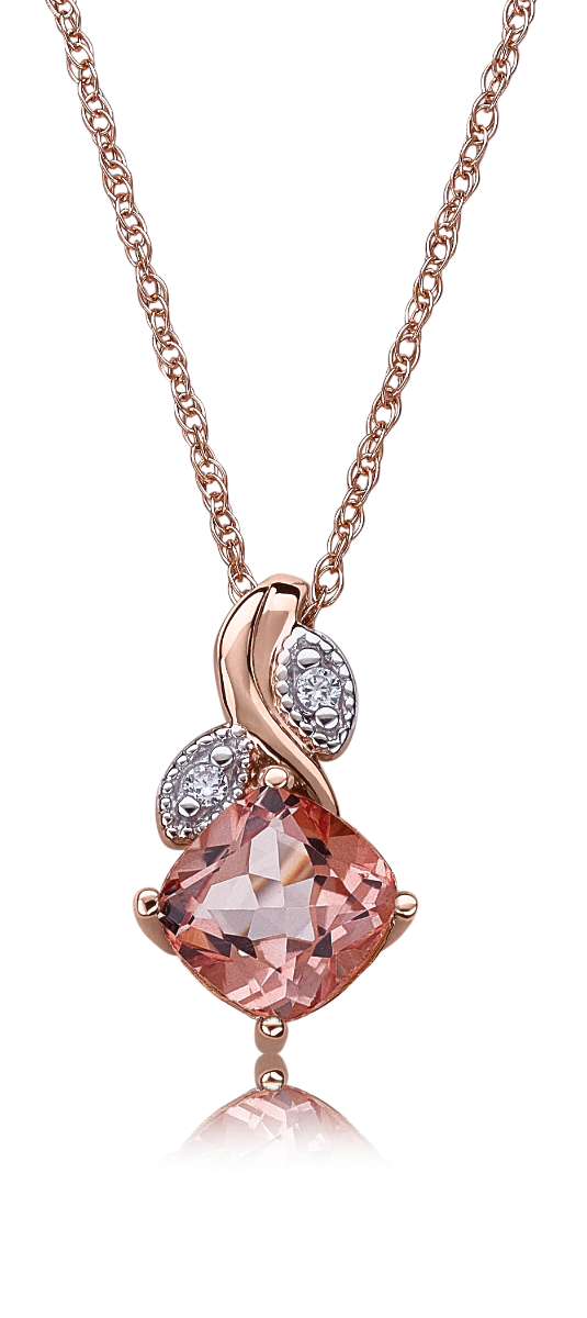 Morganaire™ Floral Cushion-Cut Topaz & Diamond Pendant