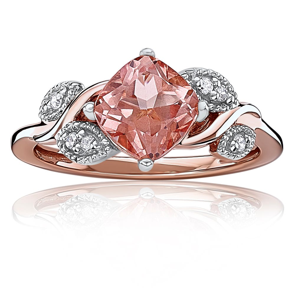 Morganaire™ Floral-Inspired Cushion-Cut Topaz & Diamond Ring