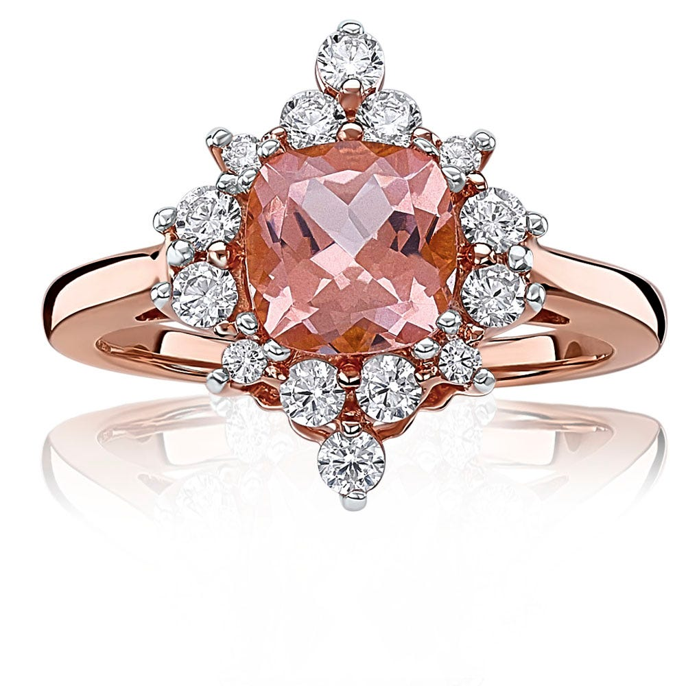 Morganaire™ Vintage-Inspired Cushion-Cut Topaz & White Sapphire Halo Ring