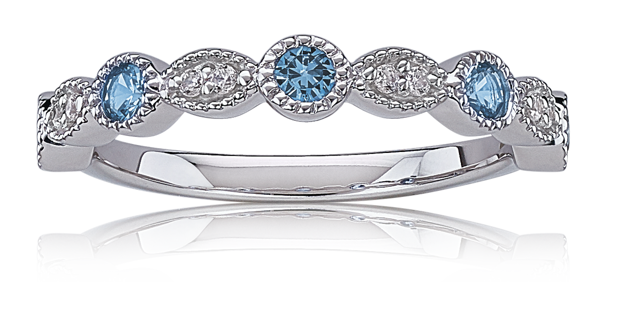 Blue Topaz  & Diamond Stackable Band in 10k White Gold
