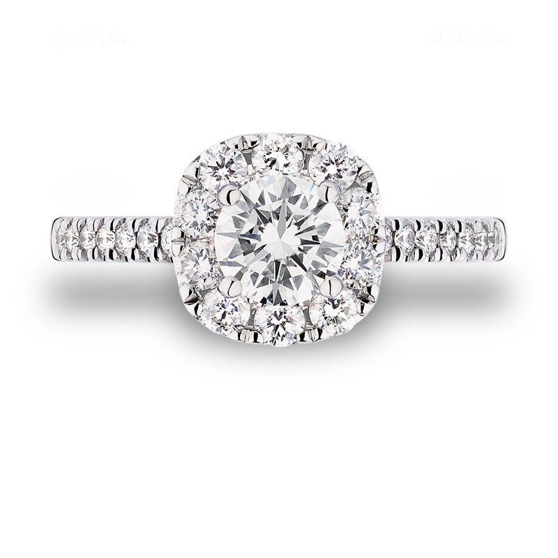 Ilsa. Round Diamond Halo Engagement in 14k Gold