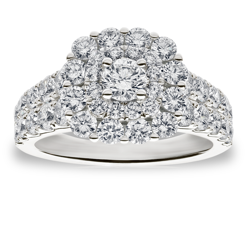 Lacy. Multi-Cluster Diamond 2ctw. Halo Engagement Ring in 14k White Gold