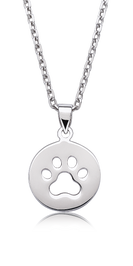 Paw Print Medal Pendant in Sterling Silver