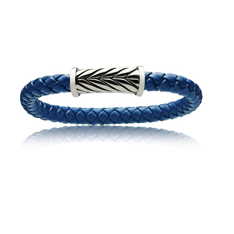 Men's Blue Braided Genuine Leather Wristband With Magnetic Clasp