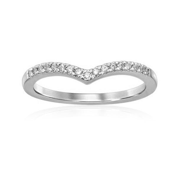 Diamond Stackable Wide V Band in 10k White Gold