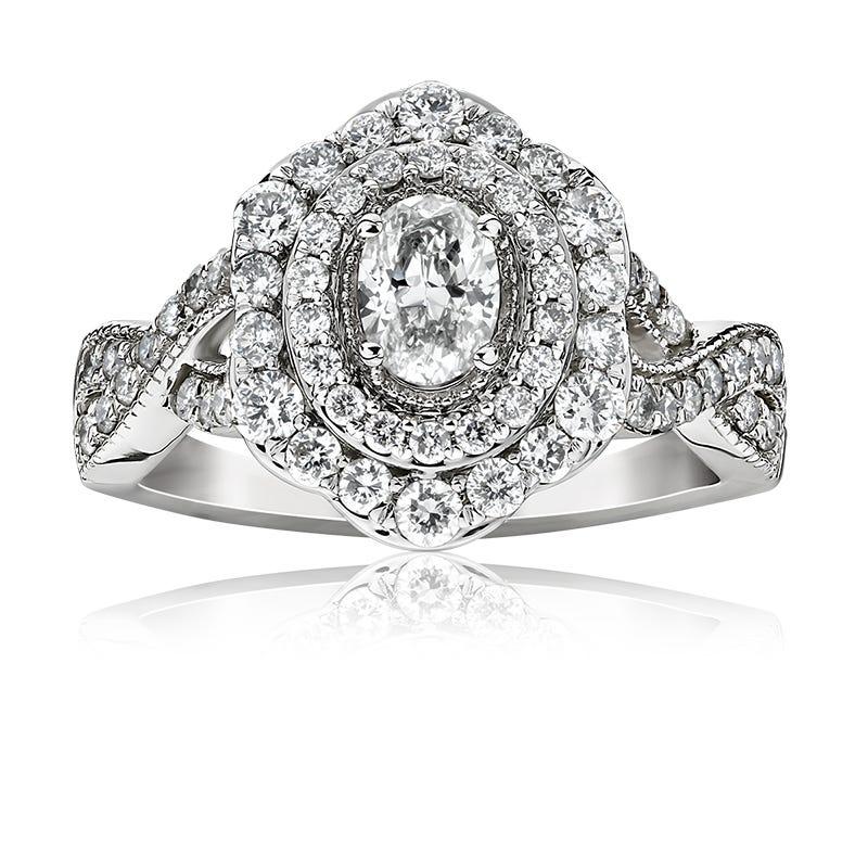 Lake. Oval Fancy Diamond Engagement Ring in 14k White Gold