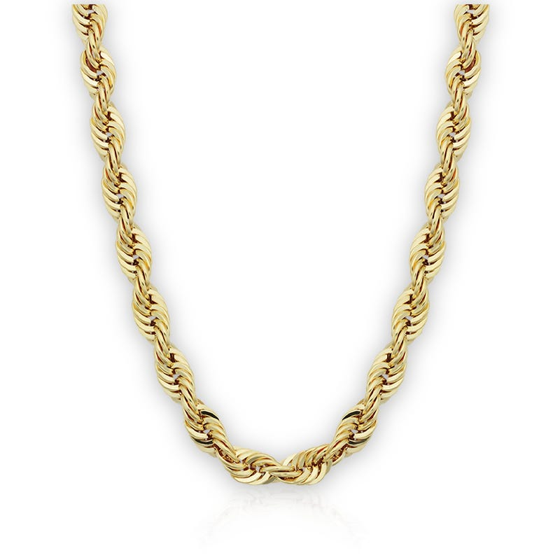 Men's Hollow Rope Chain Necklace in 10k Yellow Gold 24
