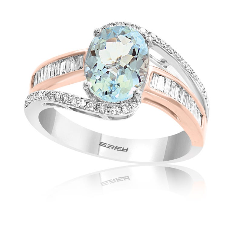 EFFY Oval Aquamarine & Baguette Diamond Cocktail Ring