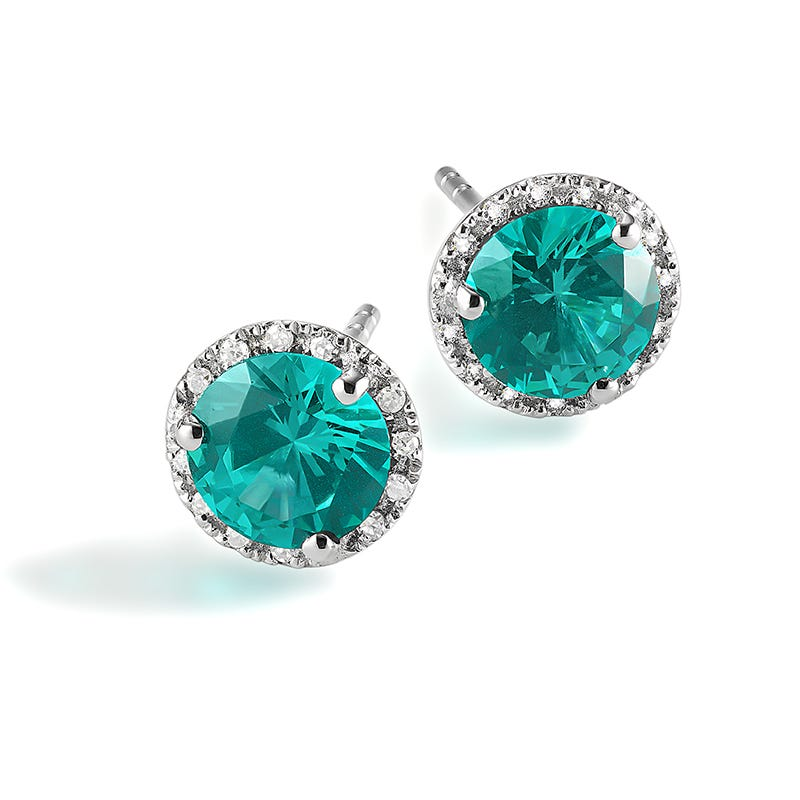 Fiji Blue Created Spinel & Diamond Halo Stud Earrings
