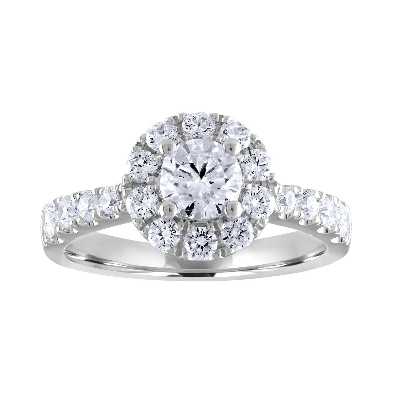 Lab-Crafted Diamond 1-1/2ctw. Round Halo Engagement Ring