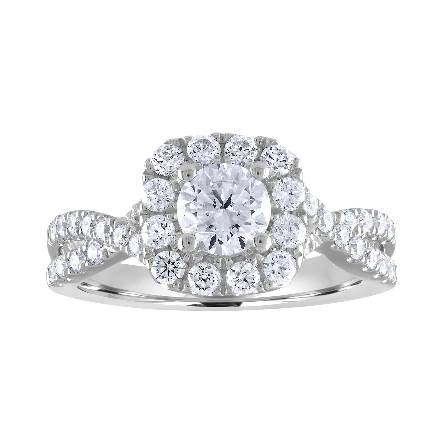 Lab Grown 1 1/2ct. Diamond Cushion-Cut Halo Twist Engagement Ring in 14k White Gold