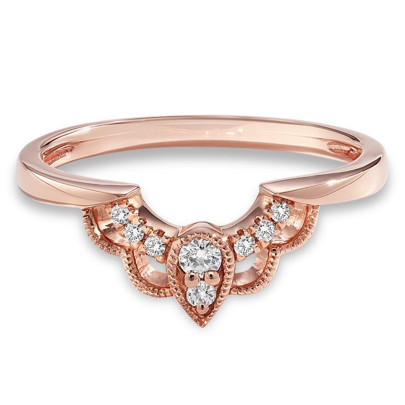 Diamond Art Deco 1/10ctw Nesting Band in 14k Rose Gold