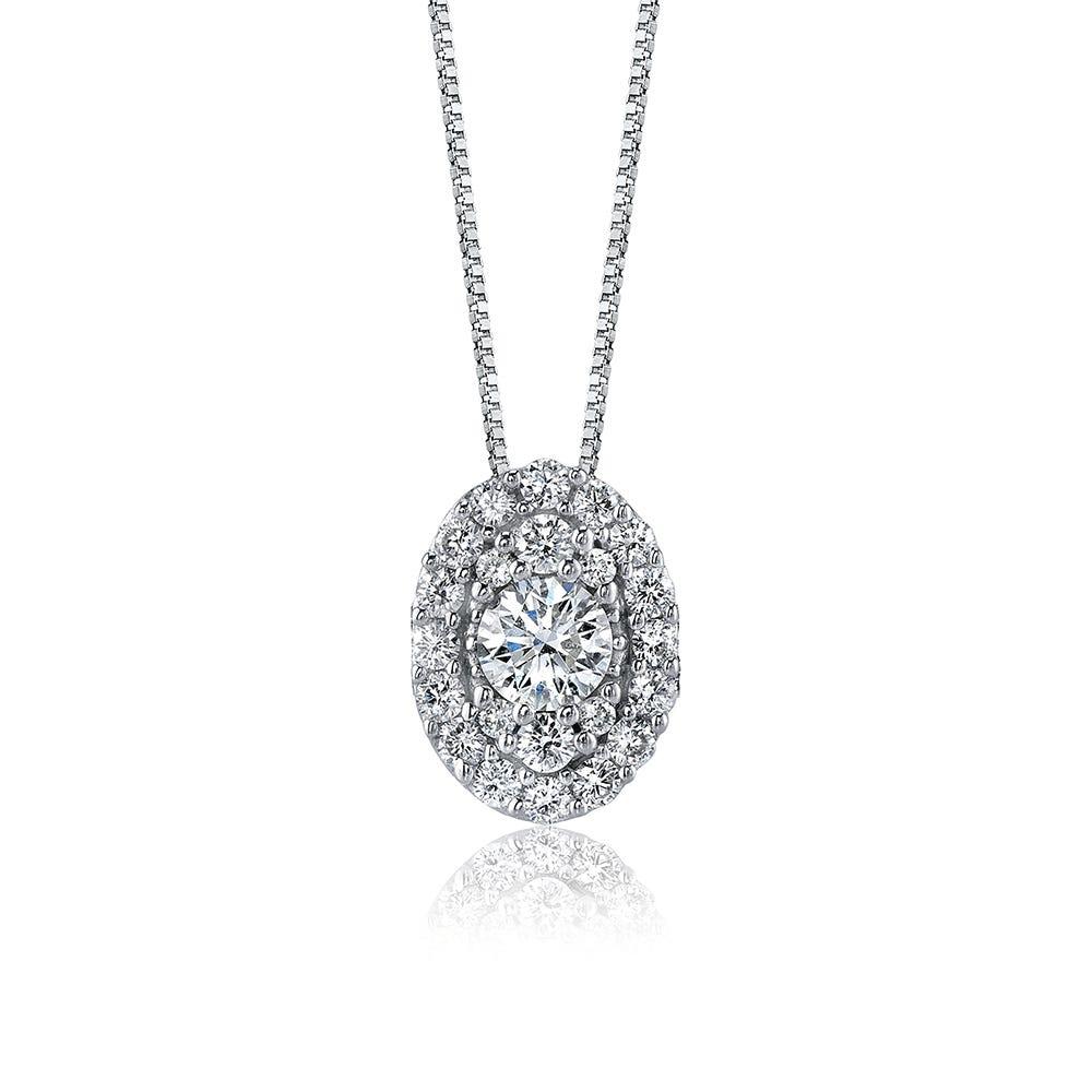 Sirena Oval Cluster Diamond Pendant in 14k White Gold