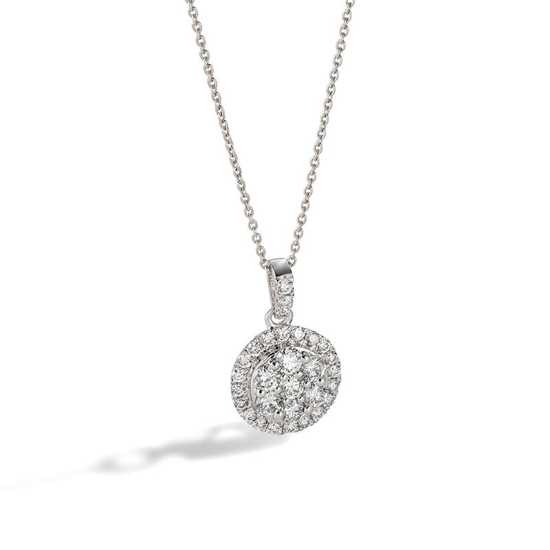 Lab-Crafted Diamond Cluster Pendant 5/8ctw in 14k White Gold
