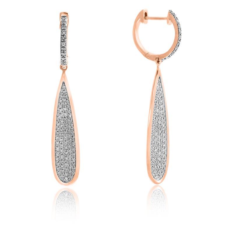 EFFY Long Teardrop Pave Diamond Dangle Earrings in 14k Rose Gold