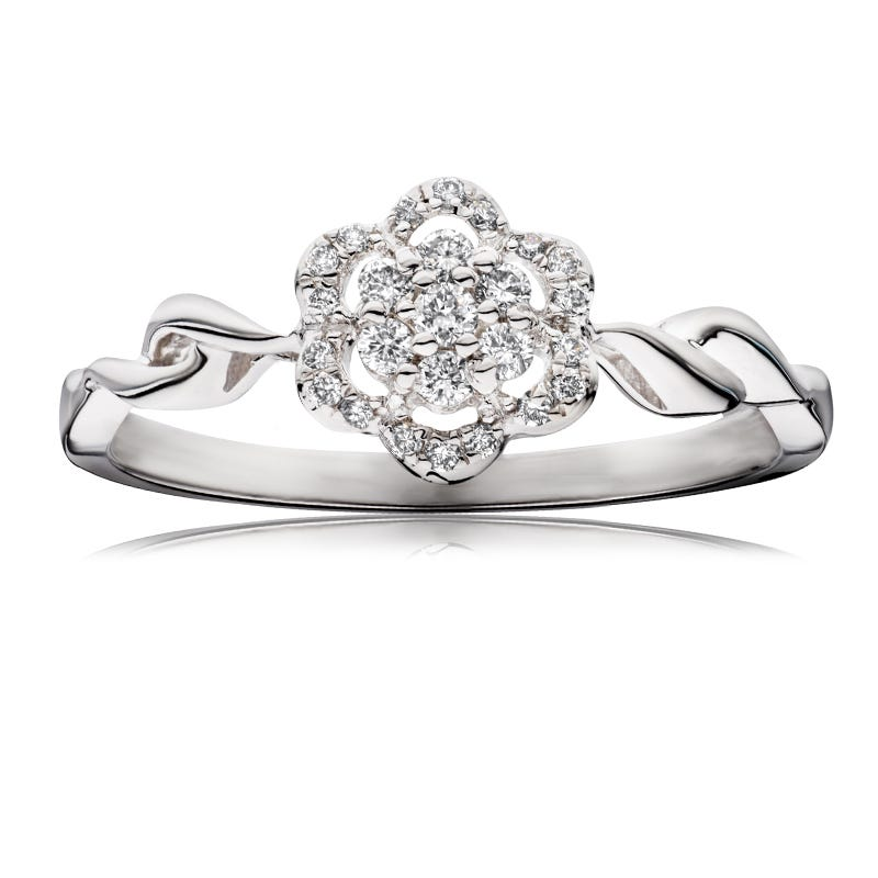 Floral Halo Diamond Promise Ring in 10k White Gold