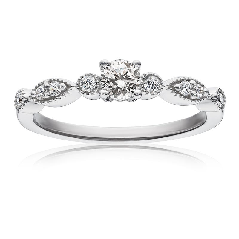 Diamond Simple Milgrain Promise Ring In