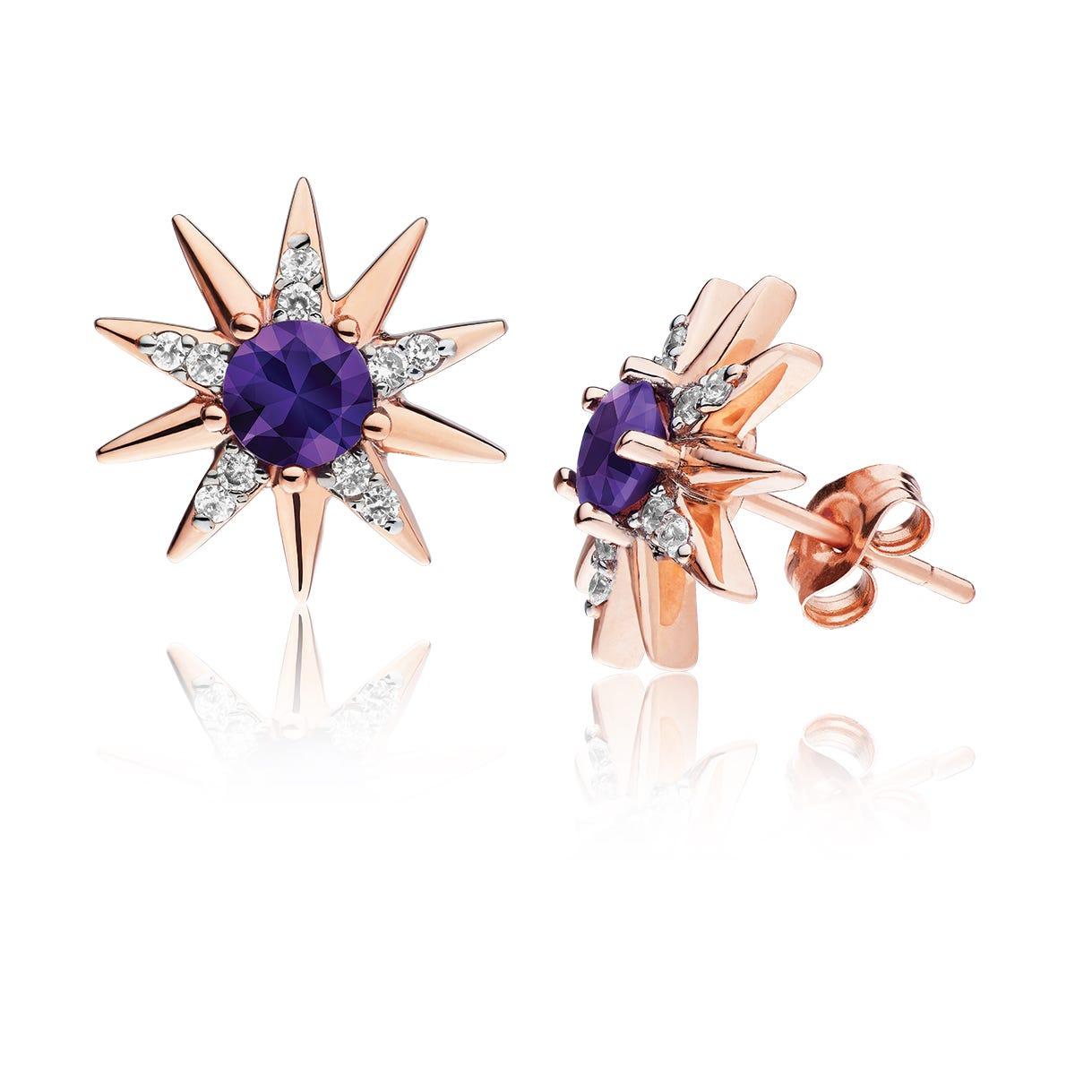 Amethyst & Diamond Star Stud Earrings in 10k Rose Gold