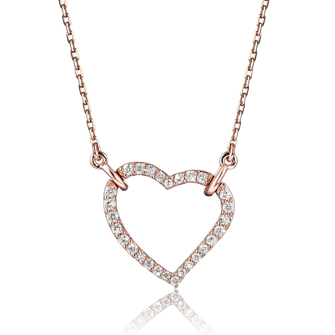 Lab-Crafted Diamond Open Heart Necklace