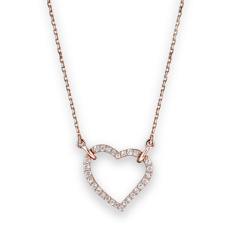 Lab Grown 1/4ct. Diamond Open Heart Necklace in 14k Rose Gold
