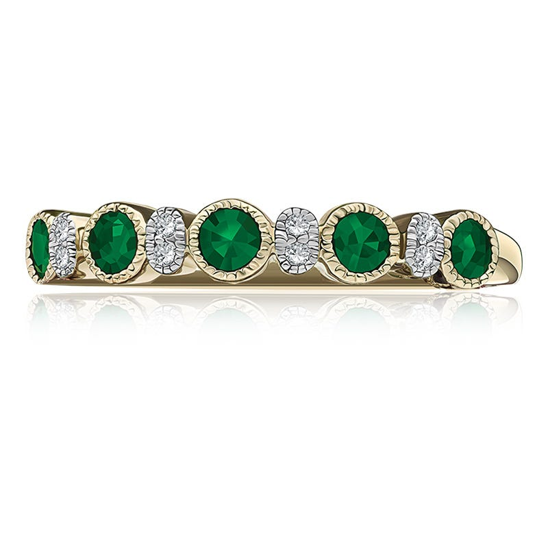 Emerald Bezel-Set Gemstone & Diamond Band in 10k Yellow Gold