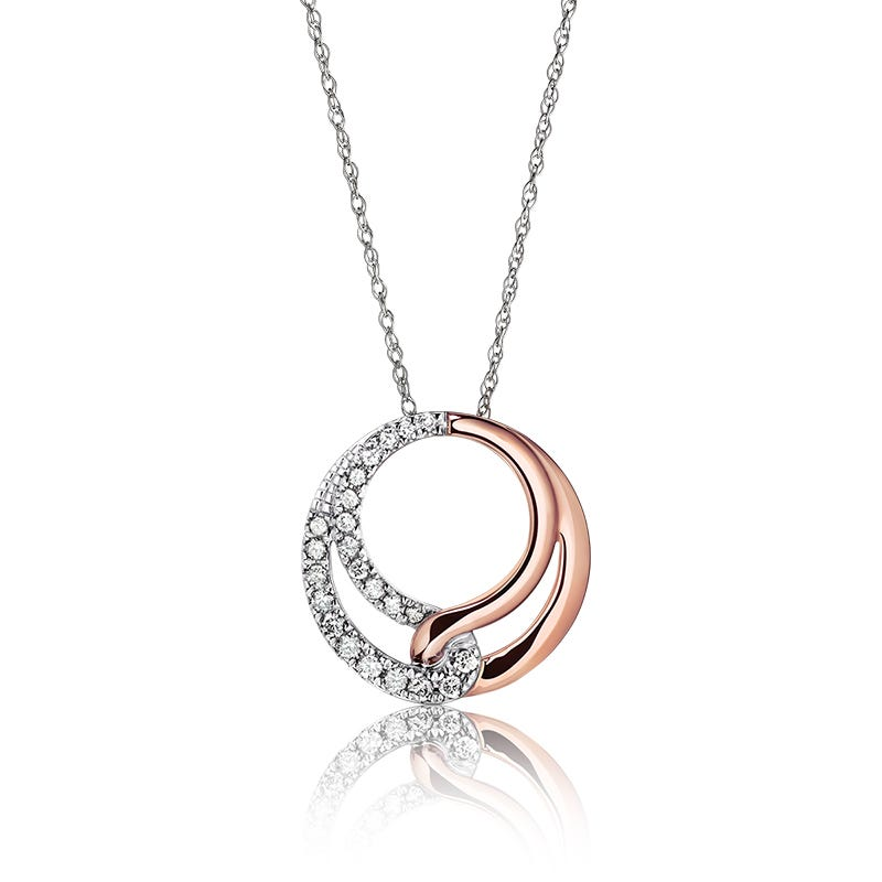 Diamond Rose & White Gold Interlocking Fashion Pendant