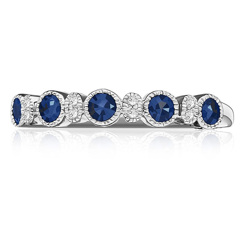 Sapphire Bezel-Set Gemstone & Diamond Band in 10k White Gold