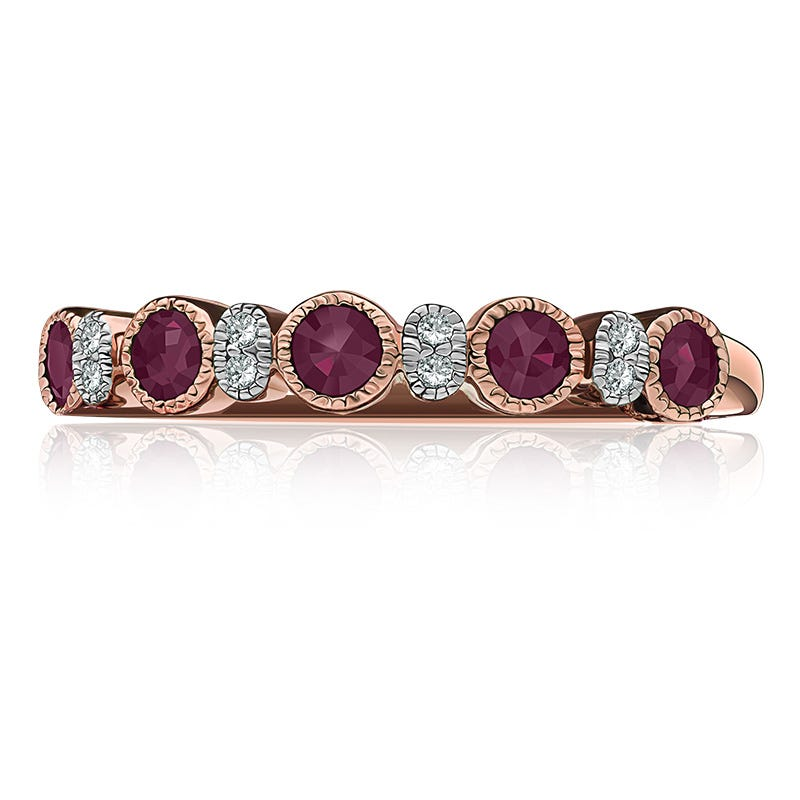 Ruby Bezel-Set Gemstone & Diamond Band in 10k Rose Gold