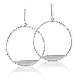 Open Circle Edge Dangle Earrings in Sterling Silver