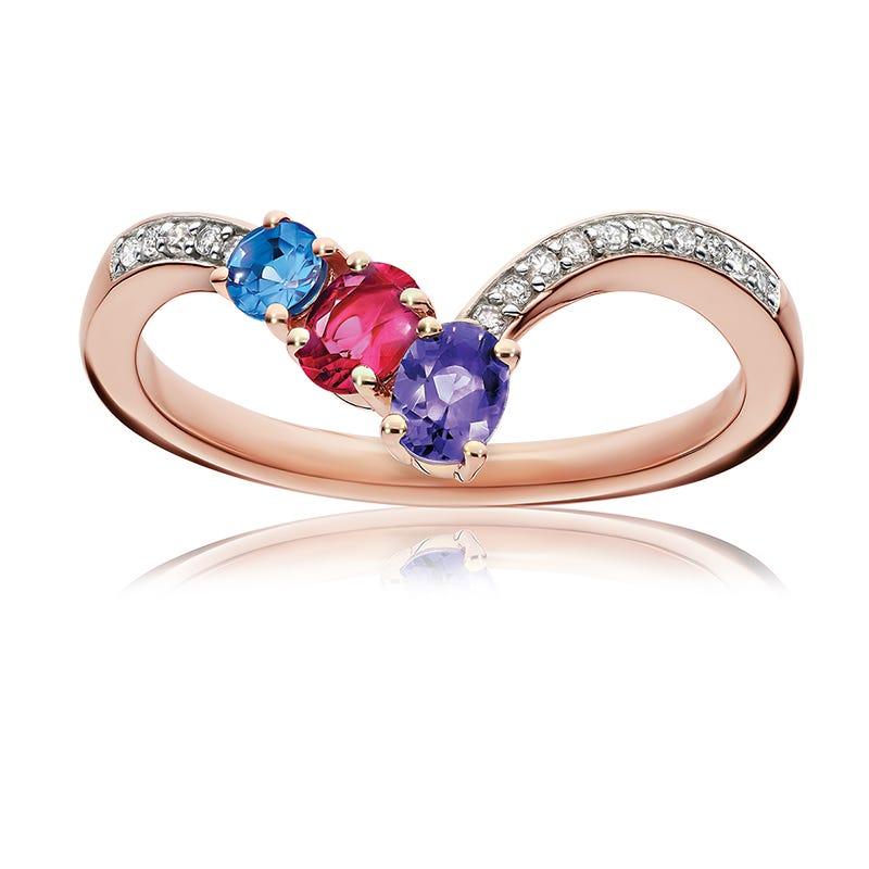 Triple Gemstone & Diamond Chevron Ring in 10k Rose Gold