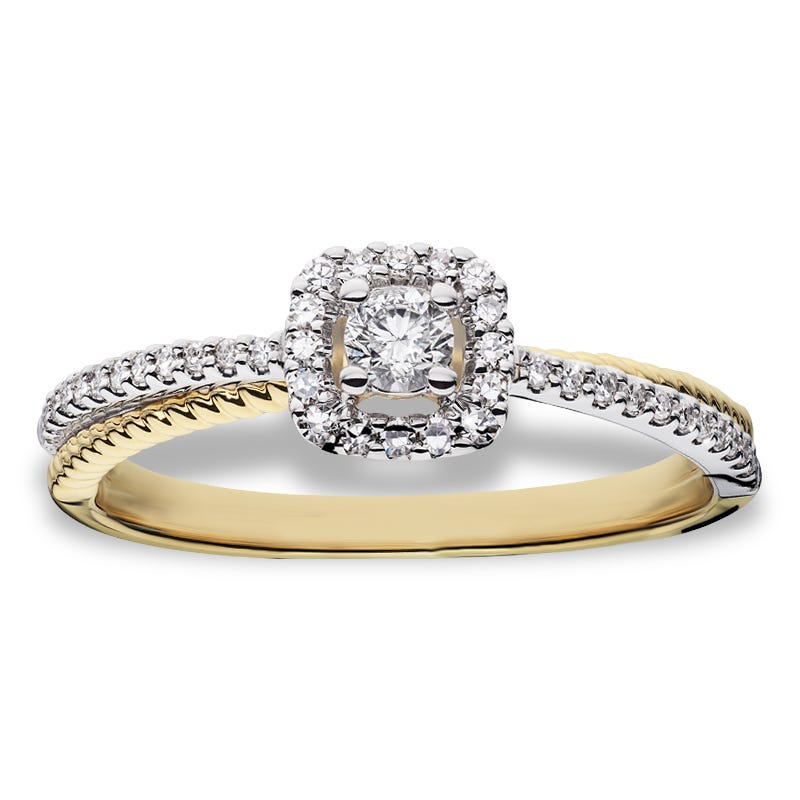 Round Cushion Diamond Halo Promise Ring 1/4ctw in 10k Yellow & White Gold