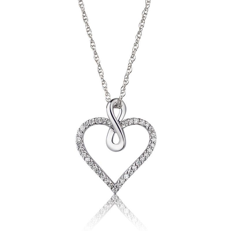 Diamond Heart & Infinity Bale Pendant 1/8ctw in 10k White Gold