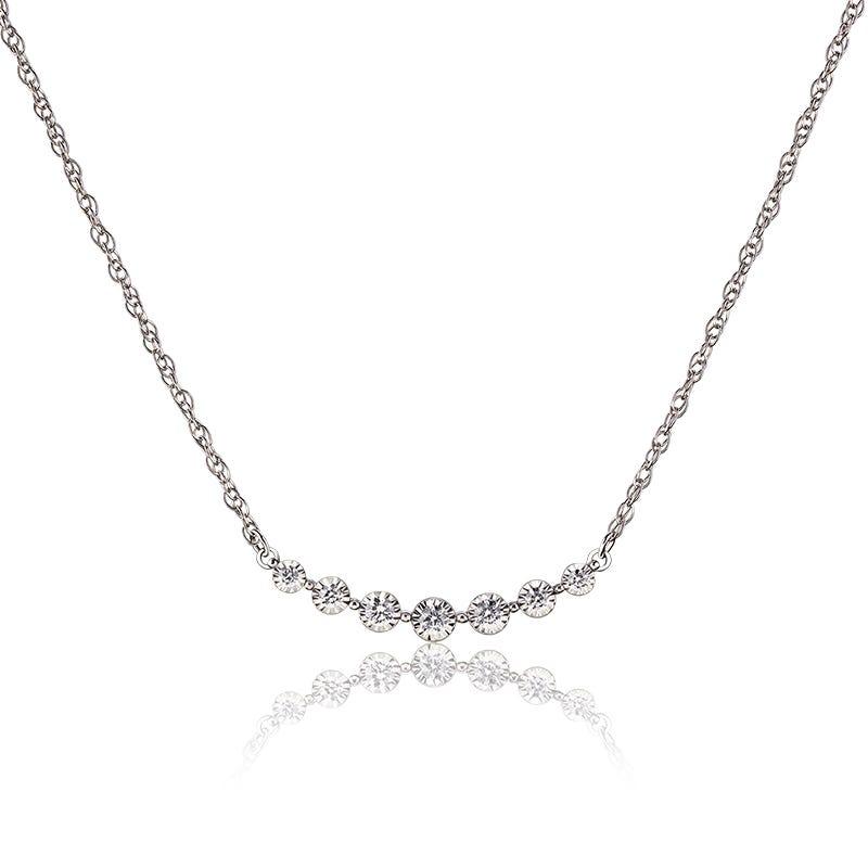 Curved Bezel-Set Round Diamond Necklace in 10k White Gold
