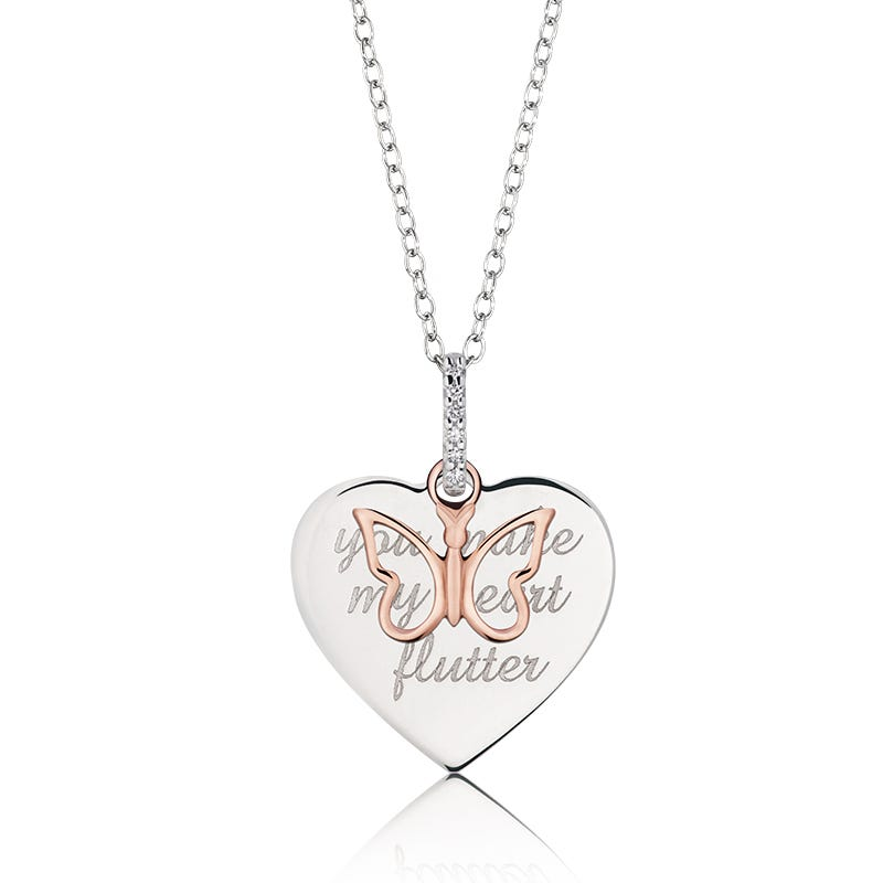You Make My Hear Flutter Pendant in 10k Rose Gold and Sterling Silver