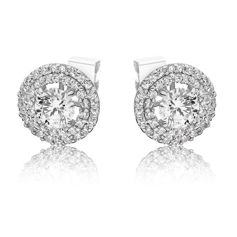 Lab Grown 1/4ct. Diamond Double Halo Round Stud Earrings in 14k White Gold
