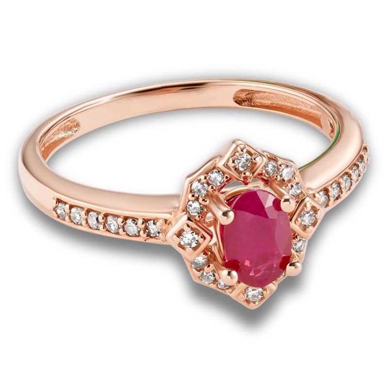 Oval Ruby & Diamond Ring in 10k Rose Gold