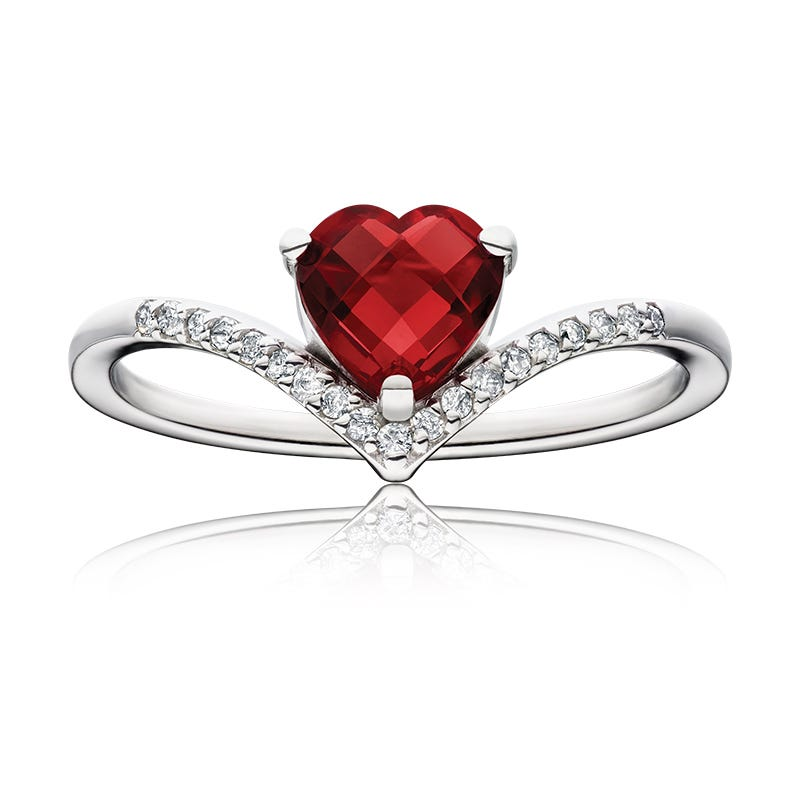 Heart-Shaped Created Ruby & Diamond Chevron Ring in Sterling Silver