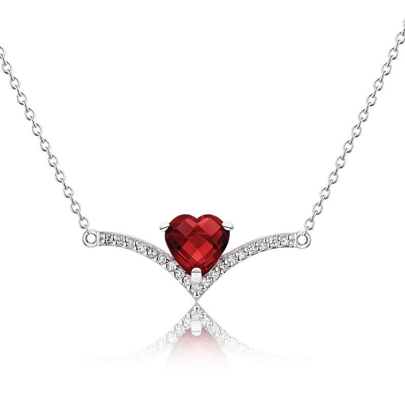 Diamond Point & Ruby Heart Necklace in Sterling Silver