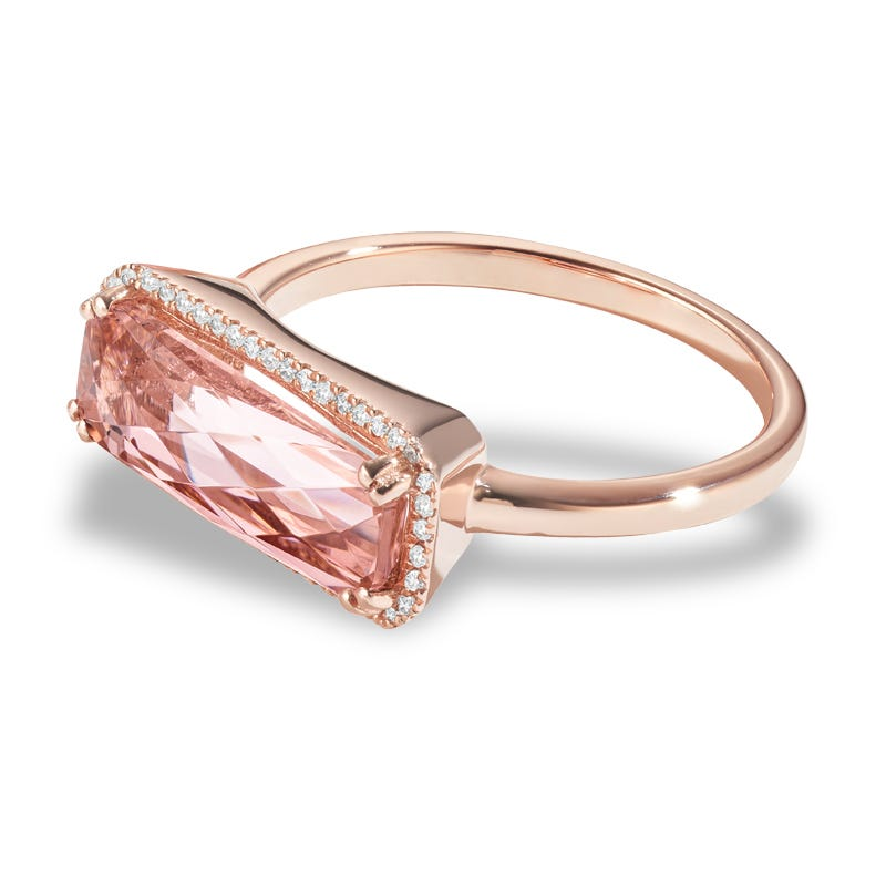 Tahiti Pink Sideway Created Spinel & Diamond Ring in 14k Rose Gold