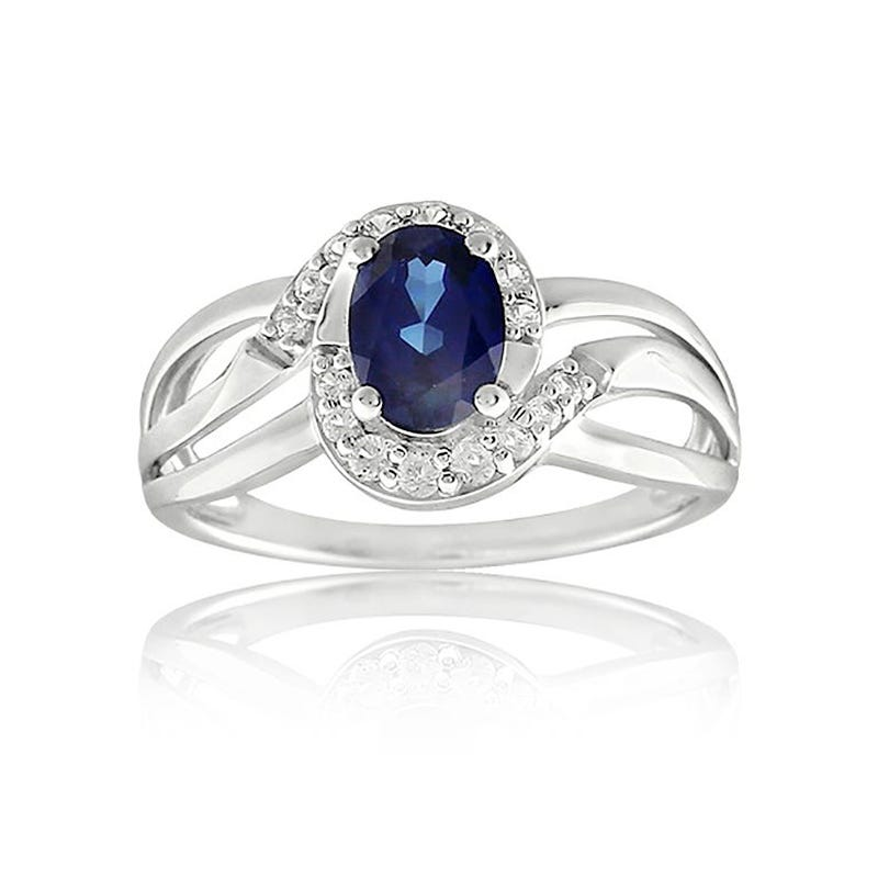 Created Sapphire Oval Ring in Sterling Silver